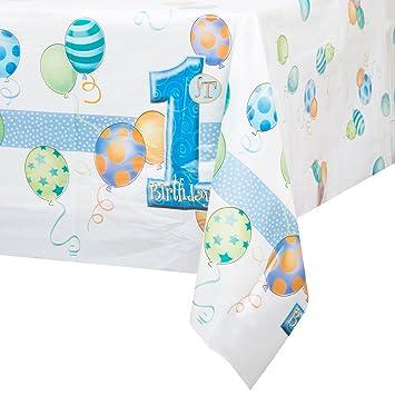 Mantel de Plástico - 2,13 mx 1,37 m - Fiesta de Globos Azules de Primer Cumpleaños