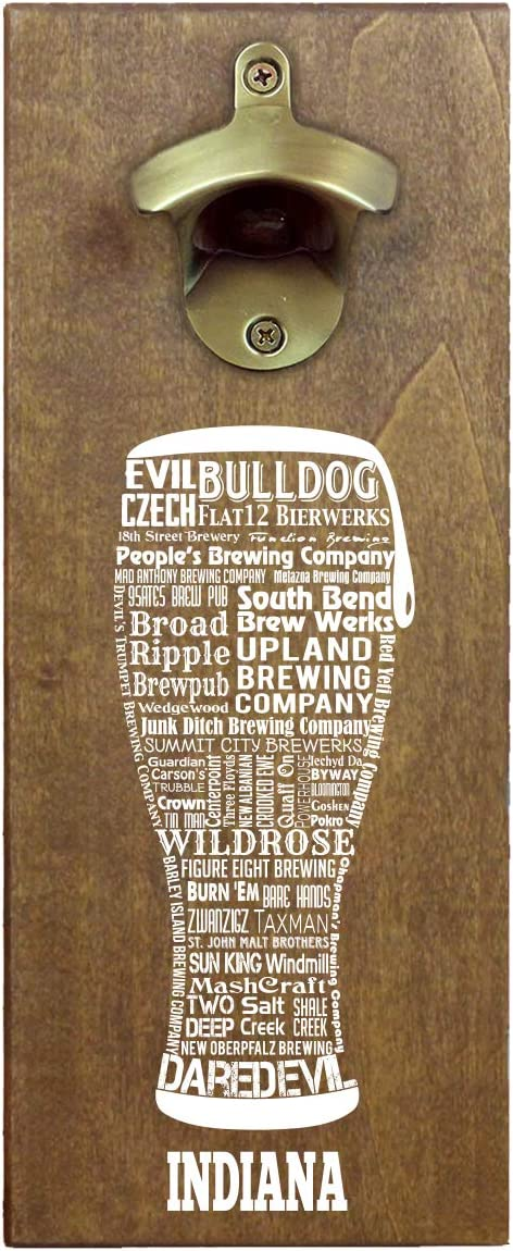 Torched State Craft Beer Typography Magnetic Beer Bottle Opener with Cap Catcher (Indiana) | Wall Mounted Bottle Opener Refrigerator Magnet | Makes a Great Gift for Men, Beer Lovers, and Collectors
