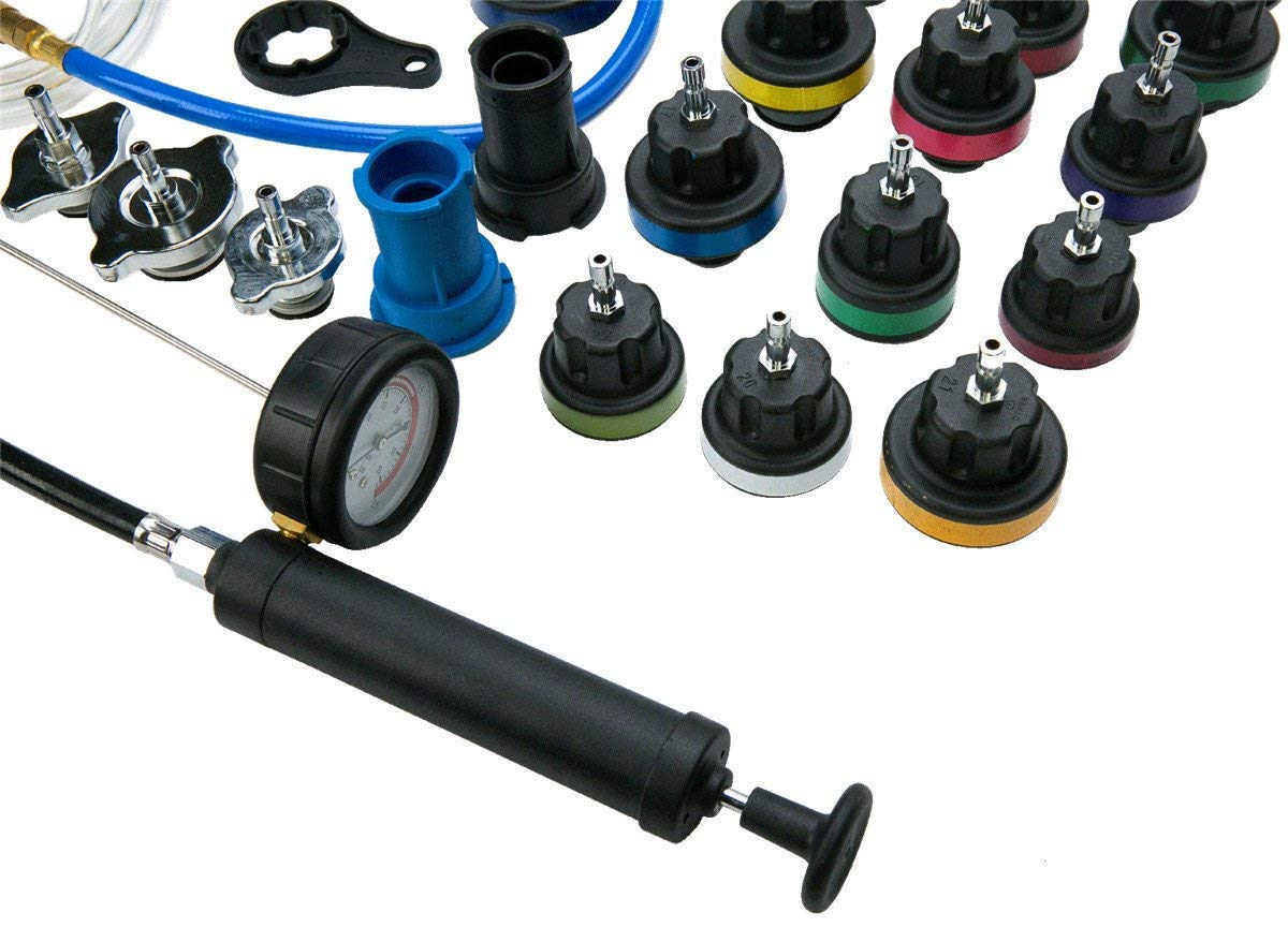 Car Water Tank Tester 28pcs SHIOUCY Radiator Pressure Tester and Vacuum Type Universal Cooling System Kit