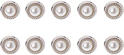 10x CLEAR PEARL SHANK BUTTONS 8mm WEDDINGS CRAFT