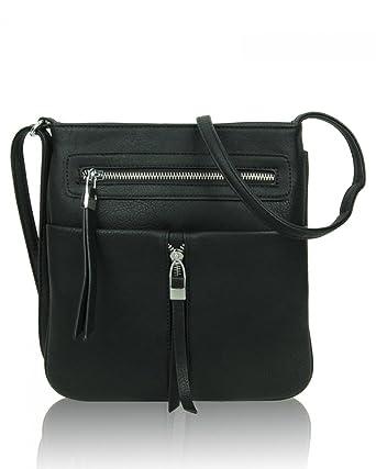 4281eb347a LeahWard® Women s Small Faux Leather Tassel Cross Body Handbags Nice Bags  (BLACK CROSS BODY