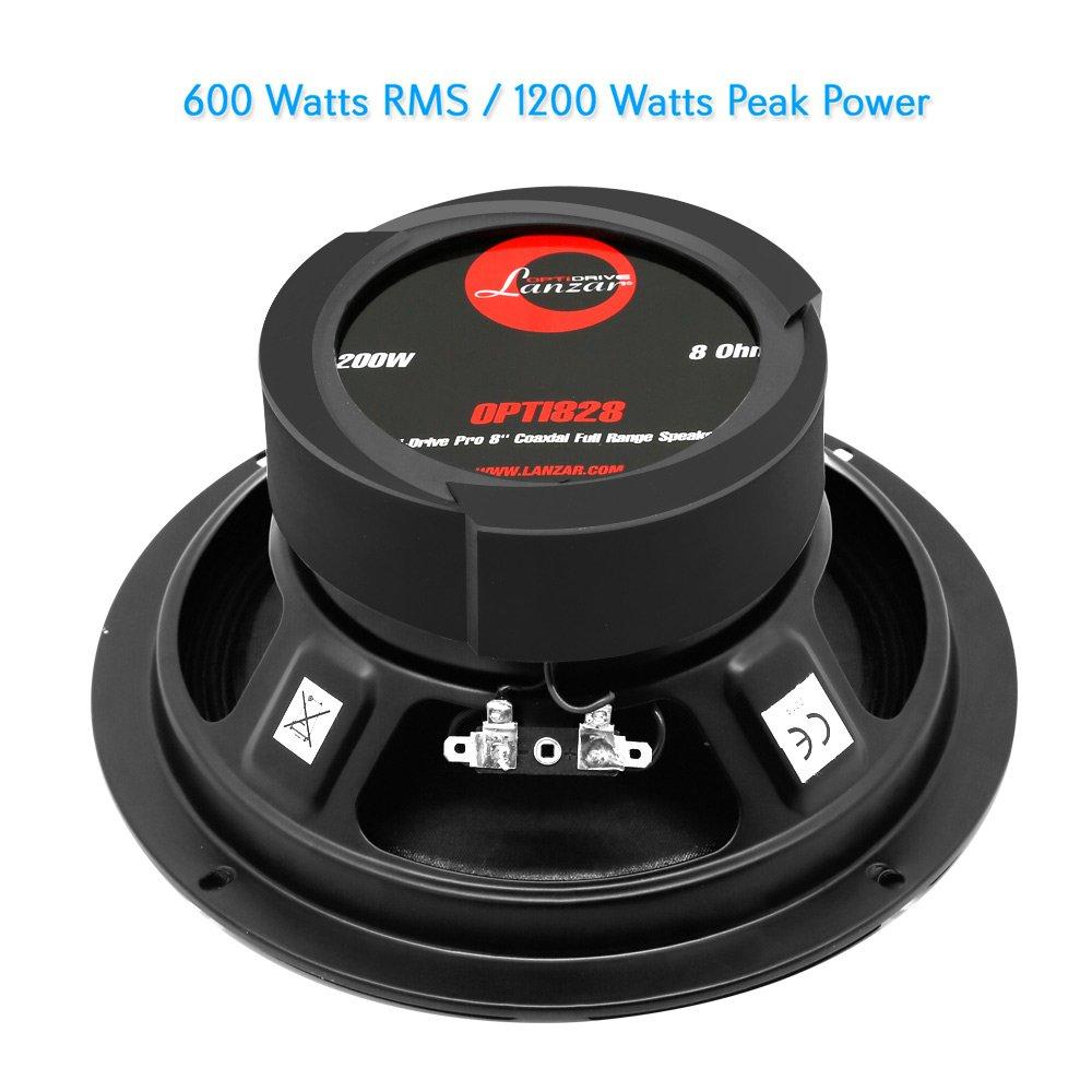 Lanzar OPTI828 Opti-Drive Pro Series 8-Inch 1200 Watt Coaxial Full Range 8 Ohm Subwoofer Speaker