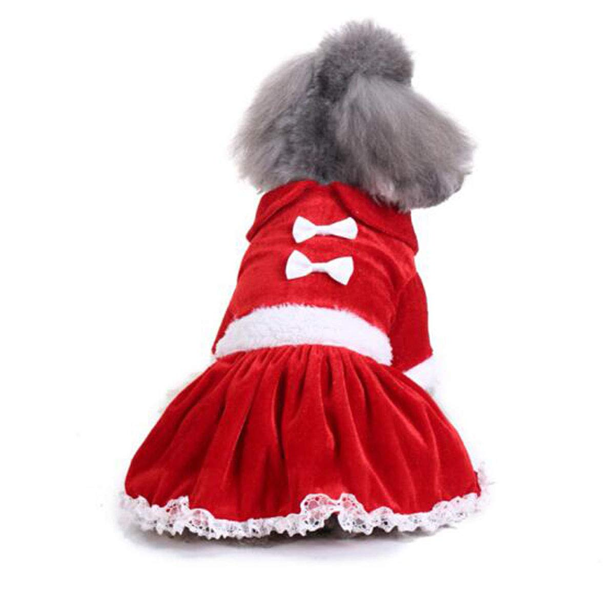 Chritmas bear red L Chritmas bear red L Pet Dog Autumn and Winter Four-Legged Clothes, Small Dog Christmas Bear Costume (color   Chritmas Bear red, Size   L)