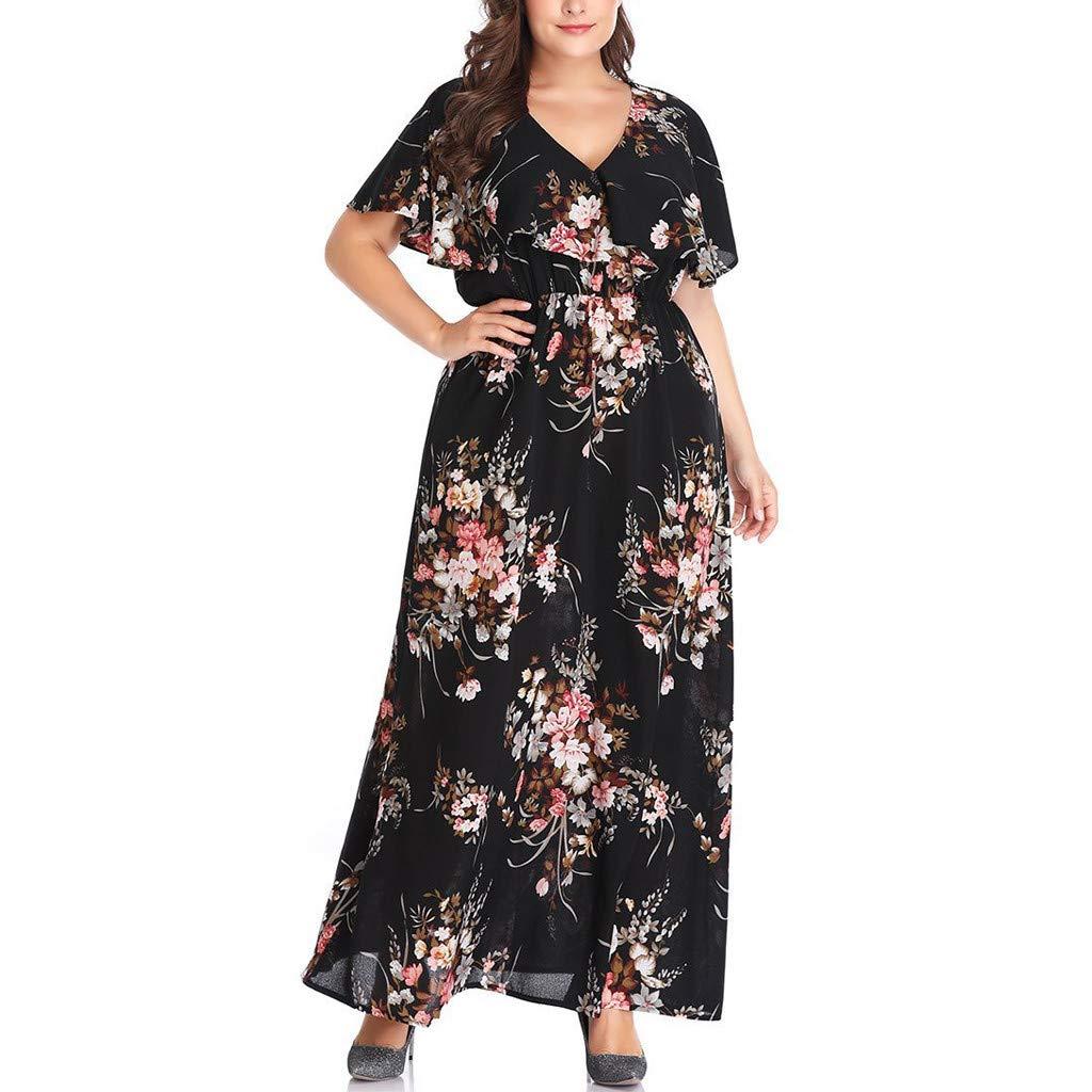 AIni Damen Sommerkleider Jerseykleid Wickelkleid Vintage Blumen Kleid V-Ausschnitt Kurzarm Abendkleider Partykleid