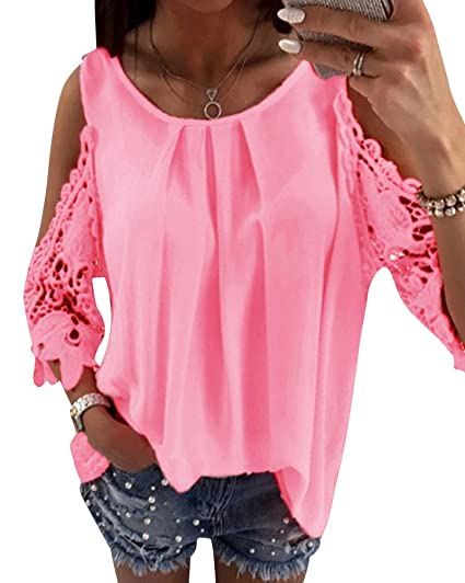 Mujer Camisetas Manga Larga Honda Hueco Moda Tops Blusa Sudaderas Camisas Pink M