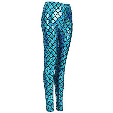 abc189f16675e MHIM Fish Scale Mermaid Leggings Slim Fit Sports Yoga Gym Festival Blue:  Amazon.co.uk: Clothing