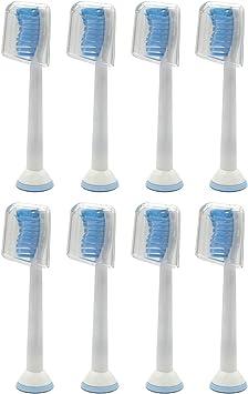 8 uds (2x4) de cabezales de recambio para cepillos de dientes con tapas, cerdas duras E-Cron. Totalmente compatibles Cabezales Repuestos con Philips Sonicare Sensitive.: Amazon.es: Salud y cuidado personal