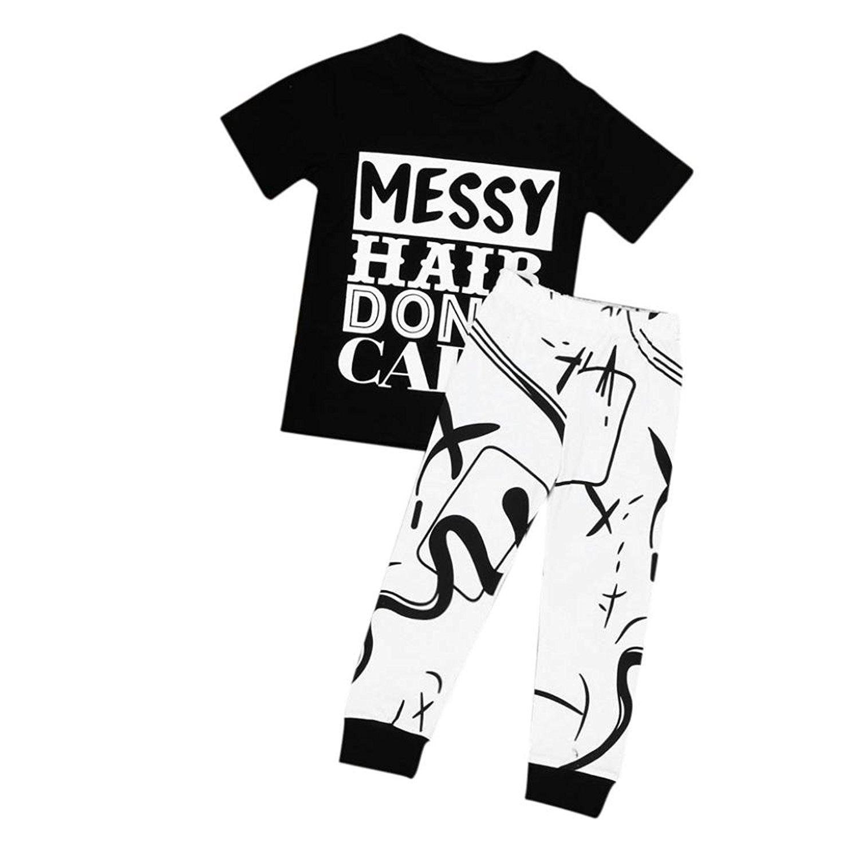 Webla Toddler Baby Kids Letter Messy Hair Don't Care T-Shirt +Long Pants Leggings 2Pcs Clothes Set Ages 2-7 Years