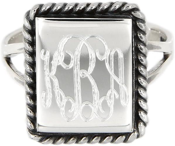 Sterling Silver Monogram Engravable Rectangular Shape with Rope Edge Signet Ring