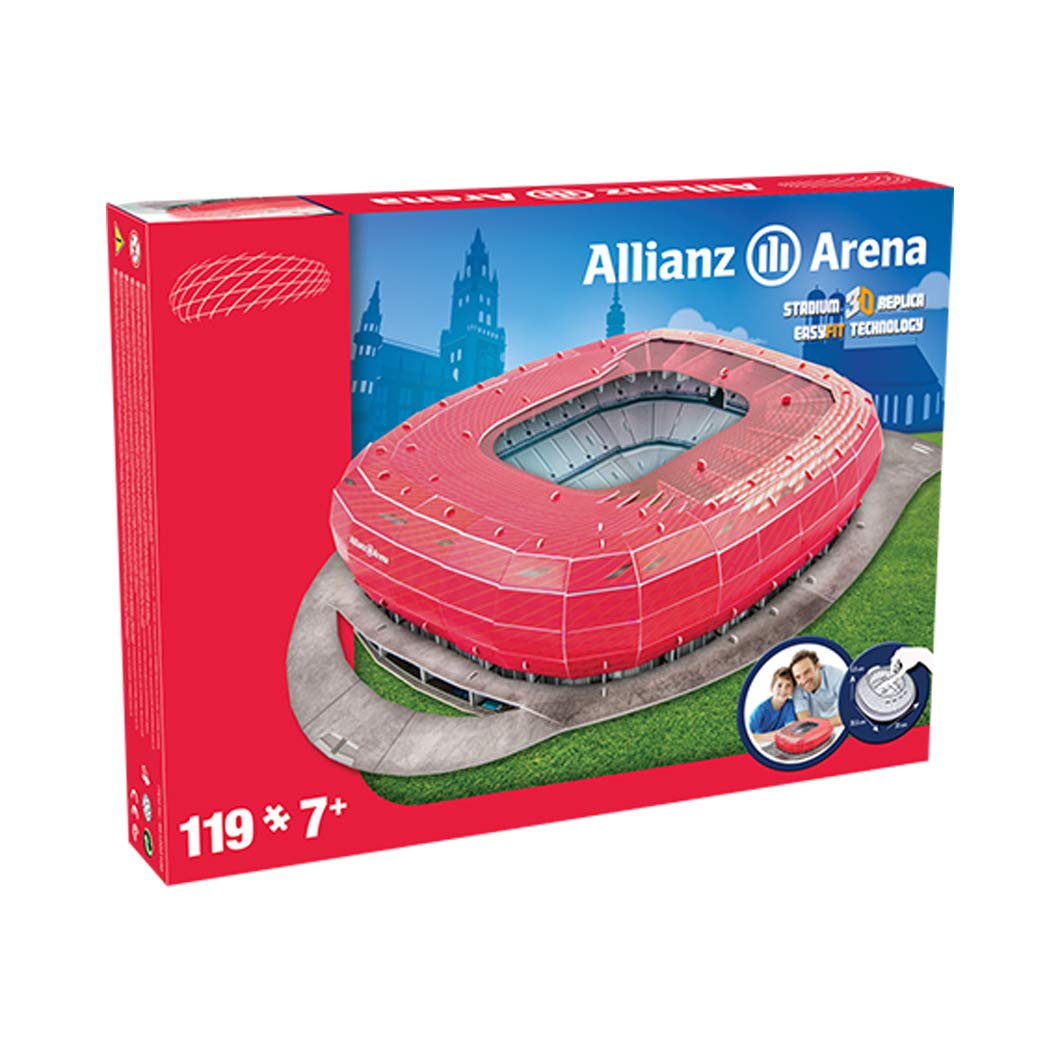 Estadio Allianz Arena - Nanostad - Puzzle 3D - (Color Rojo) (Producto Oficial Licenciado)