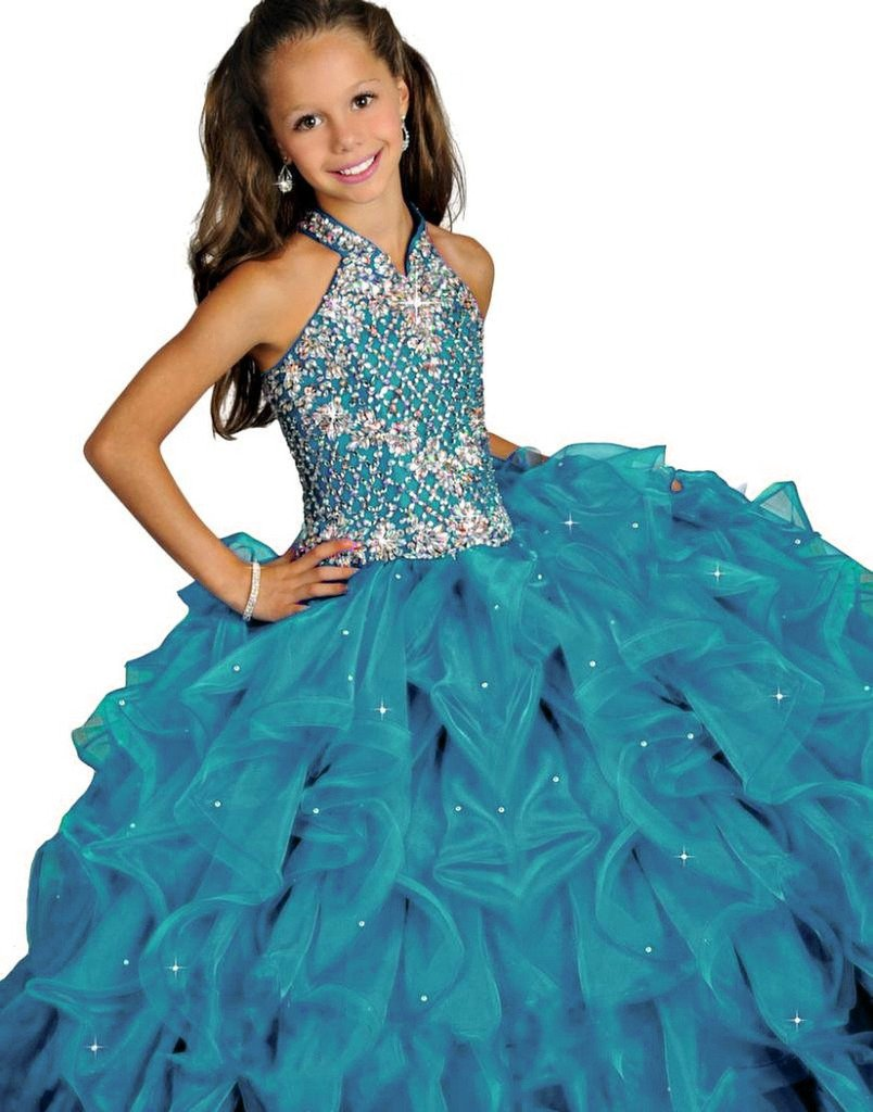 Y&C Girls Crystal Floor Length Ruffled Ball Gown Beads Pageant Dresses 08
