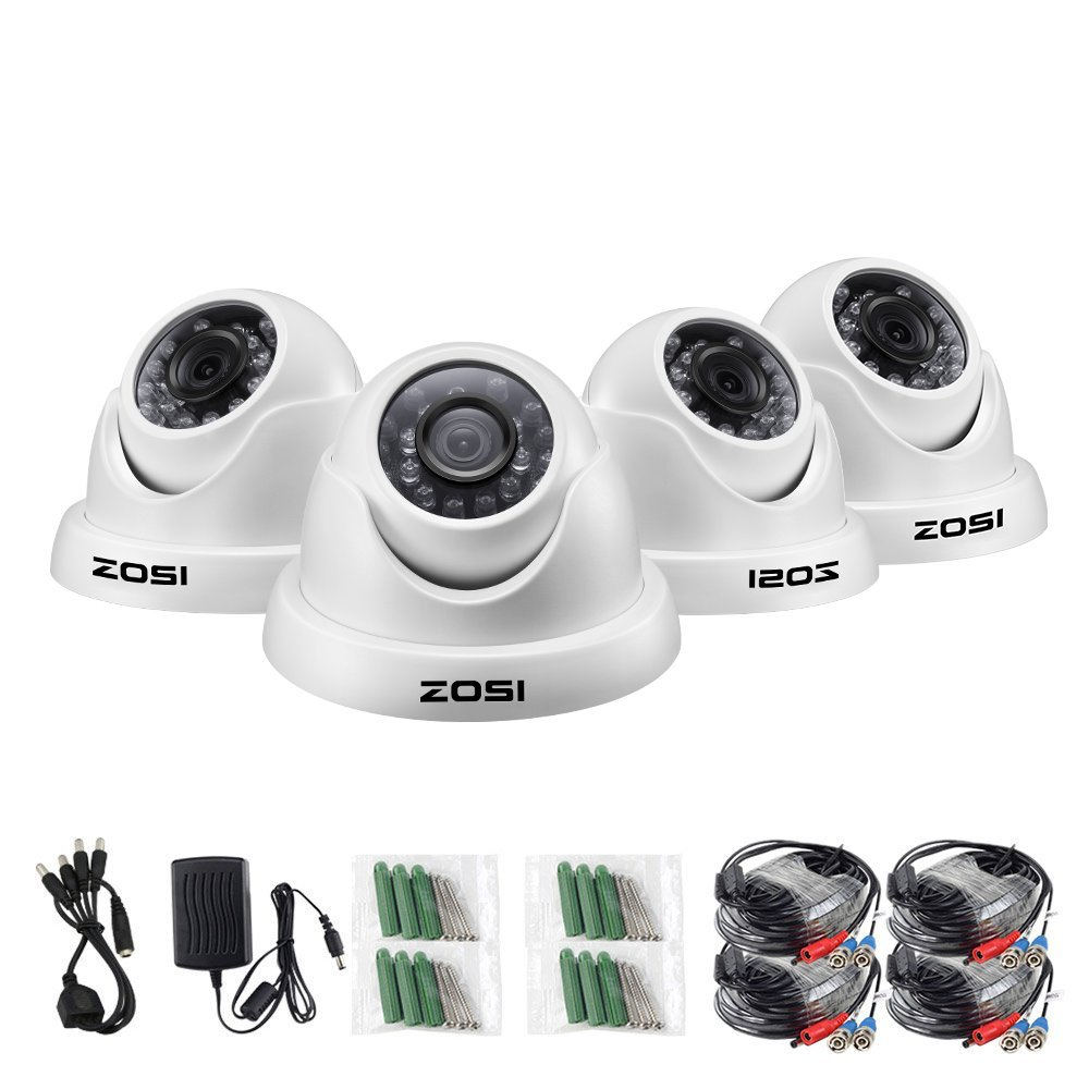 ZOSI 4 Pack HD-TVI 2.0MP 1080p Security Camera System,Indoor/Outdoor Day Night Dome Surveillance CCTV Camera,Only Compatible with TVI Series DVRs