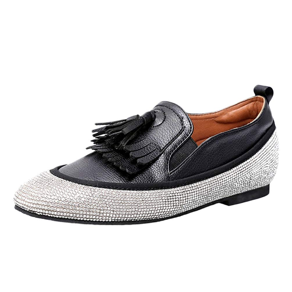 Black Leather Women Loafers Summer shoes Height Increase Woman Flat shoes Rhinestone Tassel Casual Leisure shoes