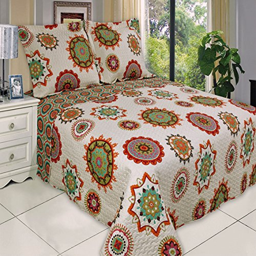 Boho Chic Red Orange Lightweight Quilt Coverlet Set Oversized Twin/Twin XL