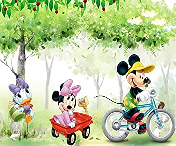 Trustech Customised Disney Mickey Minnie Mouse 3d Wallpaper For Kids Room Home Decoration Size 9x7 Feet Amazon In Home Kitchen