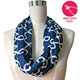 Pop Fashion Women Chain Link Pattern Infinity Scarf Wrap Scarf with White Zipper Pocket, Infinity Scarves