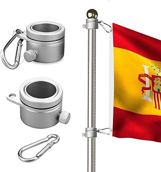 Wrightus - Anillos de montaje para mástil de bandera de aluminio, rotación de 360 grados, kit de barra de bandera giratoria, mosquetón de 1, 90 – 2, 59 cm de diámetro, paquete de 2: Amazon.es: Jardín