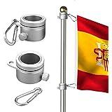 Wrighteu 2PCS Anillos de Montaje de Mástil para Bandera de Aluminio Giratorio de 360 Grados con Mosquetón para Barra giratoria de Bandera de 0,75 - 1,02 cm de Diámetro