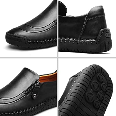 7896768f3 Amazon.com   gracosy Slip-On Shoes, Men's Leather Hand Stitching Zipper  Non-Slip Oxford Casual Leather Loafers Driving Walking Shoes   Loafers &  Slip-Ons