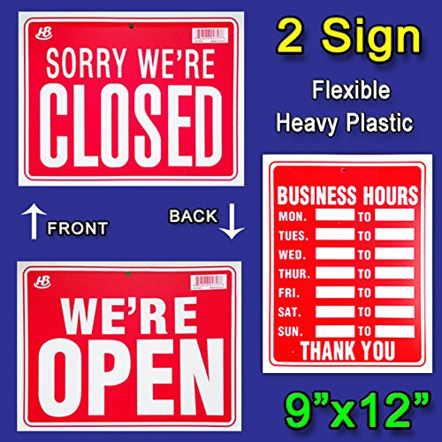 "2 Signs- 1 BUSINESS HOURS & 1 WE'RE OPEN / SORRY WE'RE CLOSED Flexible Heavy Thick Plastic 9""x12"""