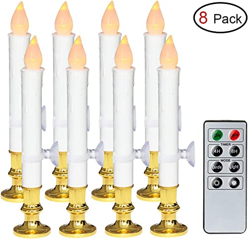 Wondise White Flameless Window Taper Candles Battery Operated with Remote and Timer, Flameless Flickering Window Candles with Gold Holders and Suction Cups Christmas Window Decoration 9 , Set of 8