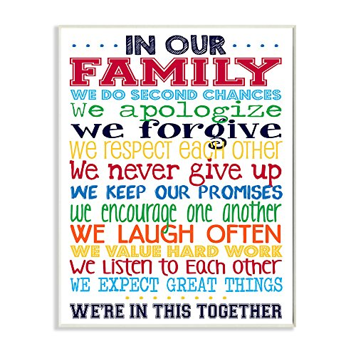 Stupell Home Décor In Our Family Rainbow Typog Wall Plaque Art, 10 x 0.5 x 15, Proudly Made in USA by The Kids Room by Stupell