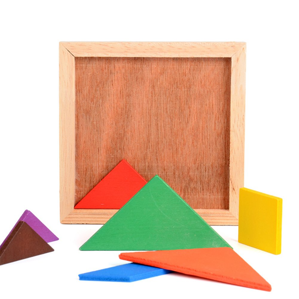 Wooden Tangrams Puzzles, 28 Pieces Tangram Puzzle Book Set Toy Colorful Educational Gift