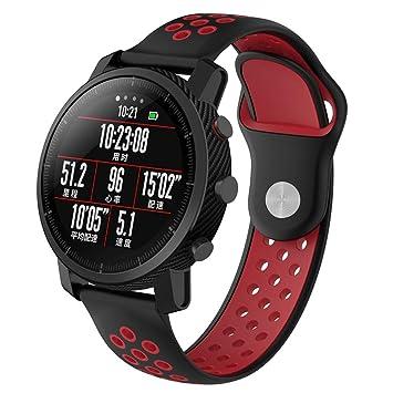 Saisiyiky Correa Compatible con Amazfit Xiaomi Huami Stratos S Samsung Gear S3 Huawei Watch 2 Silicona Correa Deportivo para Smartwatch 22 mm
