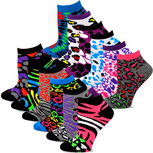 TeeHee Women's Fashion No Show/Low cut Fun Socks 12 Pairs Packs (Animal ()