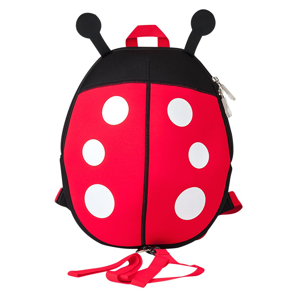(Ladybug) - Toddler Backpack, Jenuther Cool Kids Backpacks Preschool Waterproof Cute Cartoon Ladybug Schoolbag with Walking Leash Strap and Chest Buckle for Boys and Girls (Ladybug)  テントウムシ B075SVQMNK