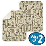 mDesign Absorbent Kitchen Countertop Dish Drying Mat - Pack of 2, 24'' x 18'', Wheat/Ivory