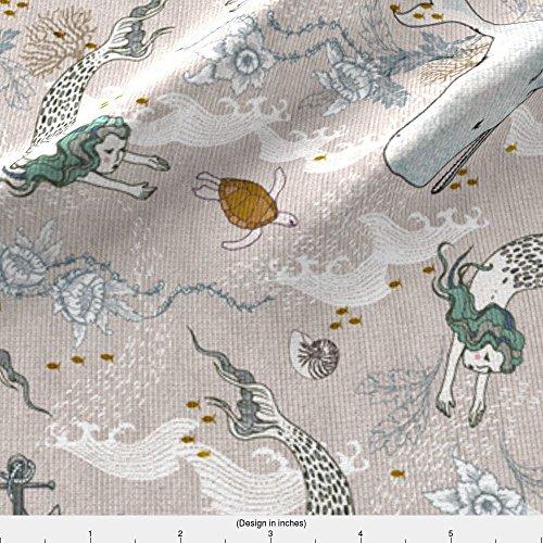 Spoonflower Mermaid Fabric Mermaids (Small) by Nouveau Bohemian Printed on Kona Cotton Ultra Fabric by the (Kona Sea Turtle)