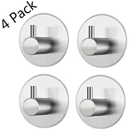 4 piezas Adhesivos Gancho de Toalla, 304 acero inoxidable Ganchos de pared, impermeable resistente