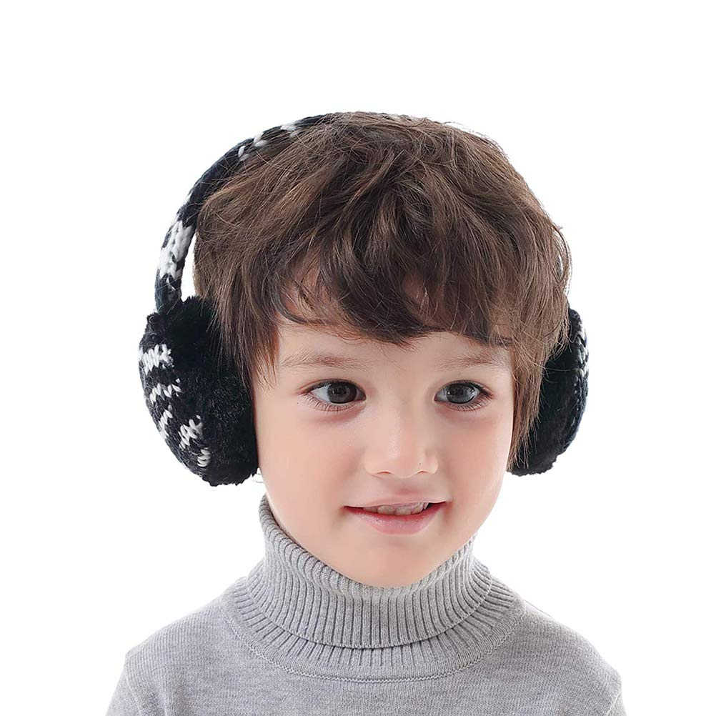 Naduew Kids Plush Knitted Earmuffs Adjustable Winter Furry Earmuffs for Girls and Boys