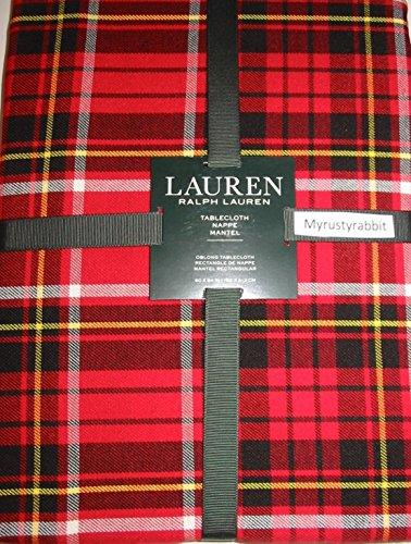 rlx120n12i Lauren Ralph Lauren Gretchen Red Tartan Holiday Set 120 X 60 Tablecloth & 12 Dinner Napkins Christmas Plaid by Lauren