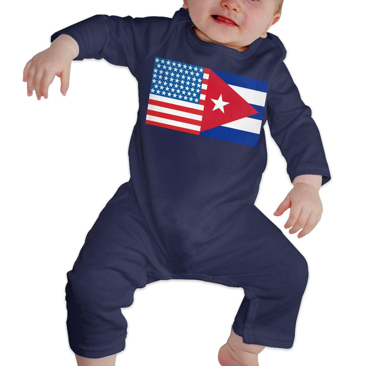 Mri-le1 Toddler Baby Boy Girl Bodysuits American Cuba Flag Infant Long Sleeve Romper Jumpsuit