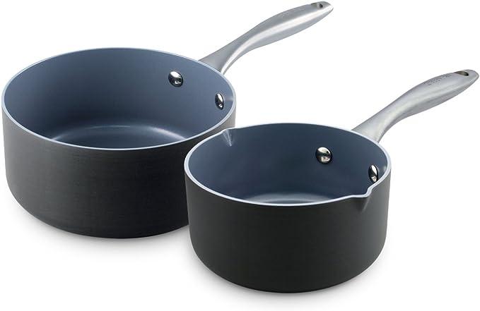 GreenPan Lima 1QT and 2QT Ceramic Non-Stick Saucepan Set, Gray - CW0004154