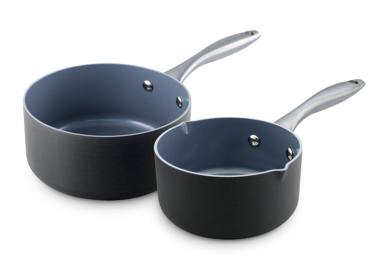 GreenPan Lima 1QT and 2QT Ceramic Non-Stick Saucepan Set by GreenPan