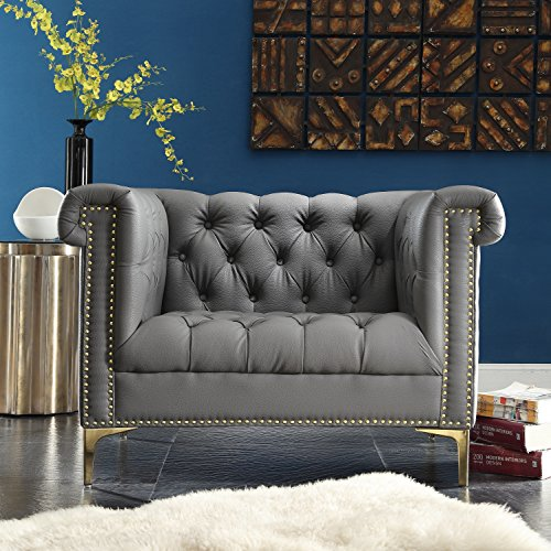 (Iconic Home Winston Modern Tufted Gold Nail Head Trim Grey PU Leather Club Chair with Gold Tone Metal Y-Legs)