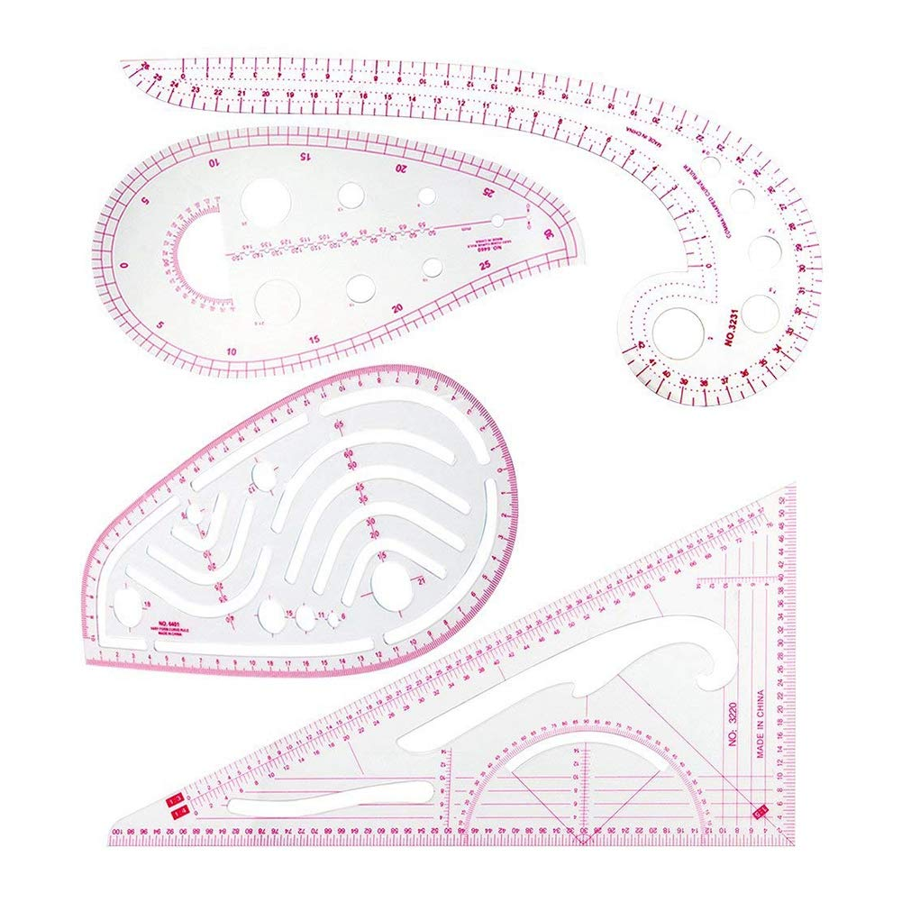 Nrpfell Sewing Ruler Set (4 Pcs) - Metric Ruler Set French Curve Pattern Grading Ruler Dressmaking Drawing Drafting Measure Template Tools 4 Style For Designers