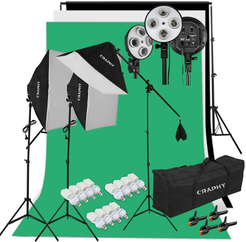 CRAPHY Kit de Iluminación Estudio Fotografía (12) 45W Softbox Kit, (3) Portalámparas 4-en-1, (3) Fondos de Tela, (3) Light Stand 200cm