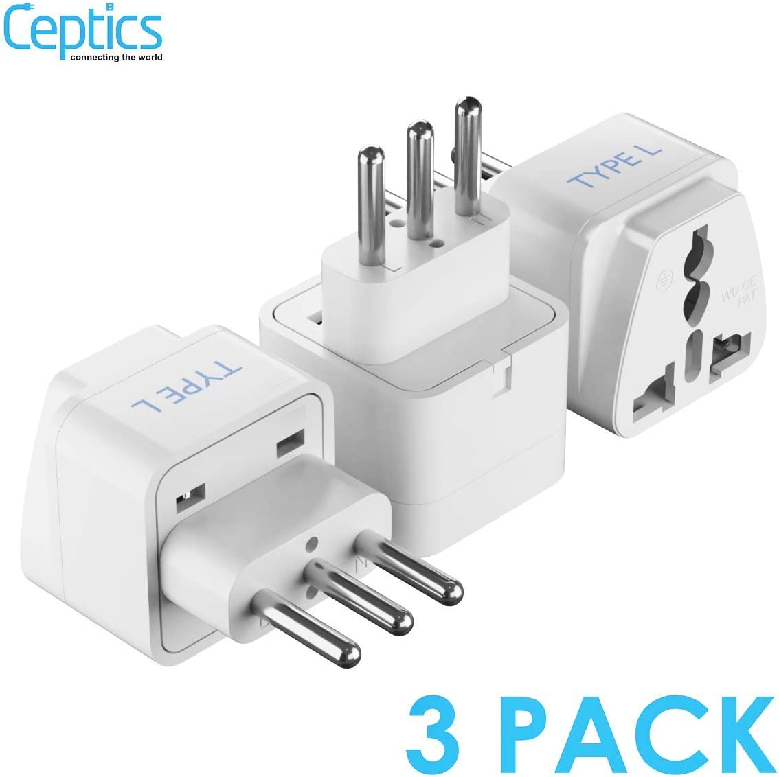 Ceptics Italy, Chile Universal Travel Plug Adapter (Type L) - Perfect for Traveling toRome - Charge your Cell Phones, Laptops, Tablets - Grounded - 3 Pack (GP-12A-3PK)
