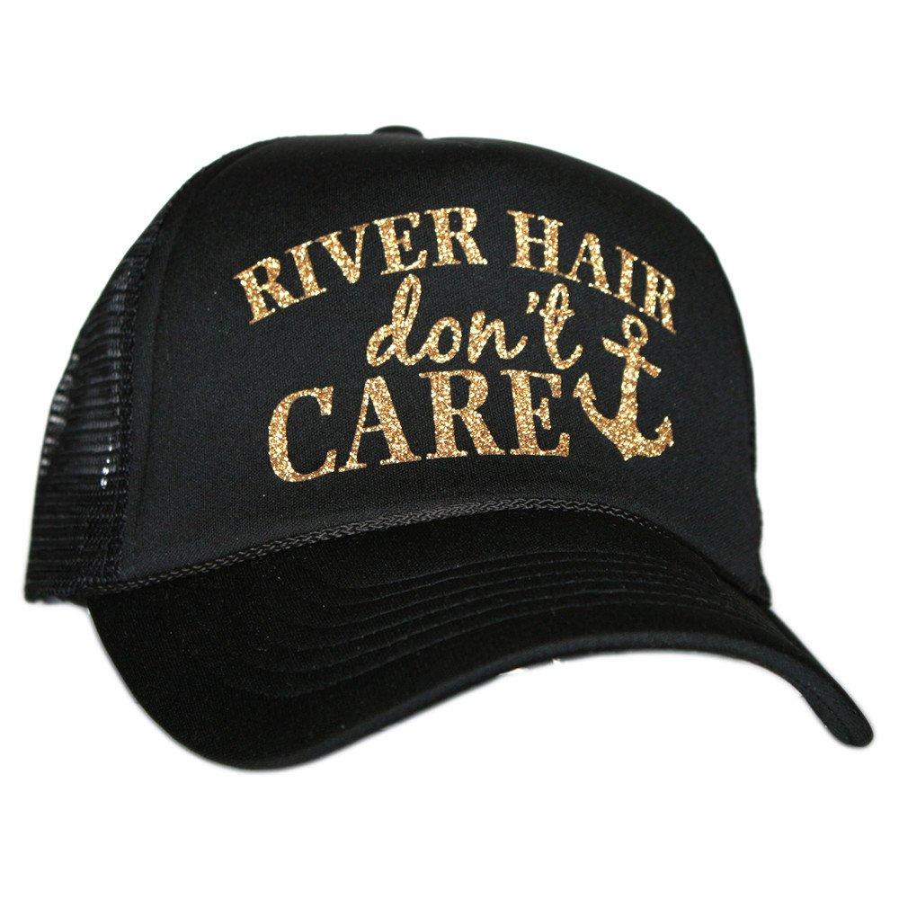 River Hair Don't Care Glitter Trucker Hat Cap for Women by Katydid