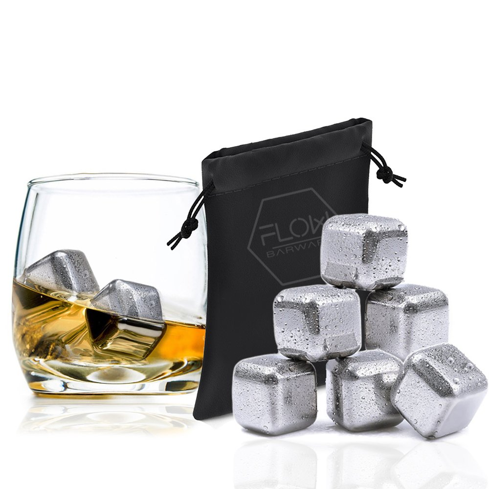 6 x Stainless Steel Whiskey Stones Ice Cubes, - Reusable Drinks ...