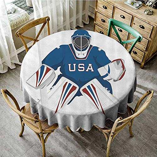 familytaste Natural Tablecloth Sports Decor Collection,Team USA Hockey Goalie Protection Jersey Sportswear Illustrations Design Print,Burgundy Blue White D 50