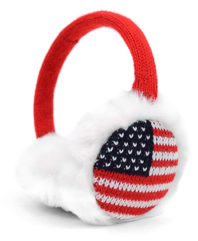 American Flag Themed Furry Knit Ear Warmer Ear Muffs