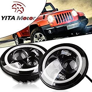 YITAMOTOR 7 Inch CJ TJ JK Jeep Wrangler LED Headlight Halo Angle Eyes
