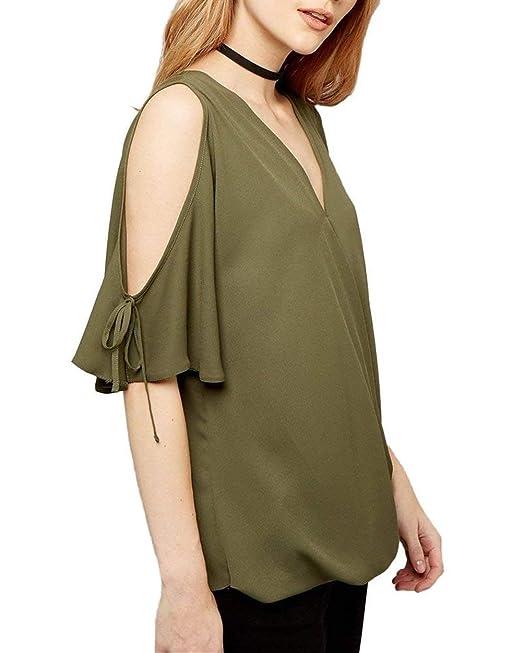 Blusa Mujer Verano Elegante Moda Camisas Manga Corta V-Cuello Color Sólido De Tiras Basic