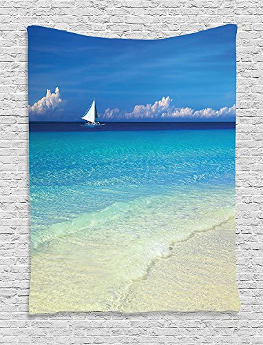 Blue Monogram Tropic - Supersoft Fleece Throw Blanket Ocean Blue Sailboat Exotic Tropic Beach in Philippines Island Horizon Summer Paradise Concept Turquoise Beige
