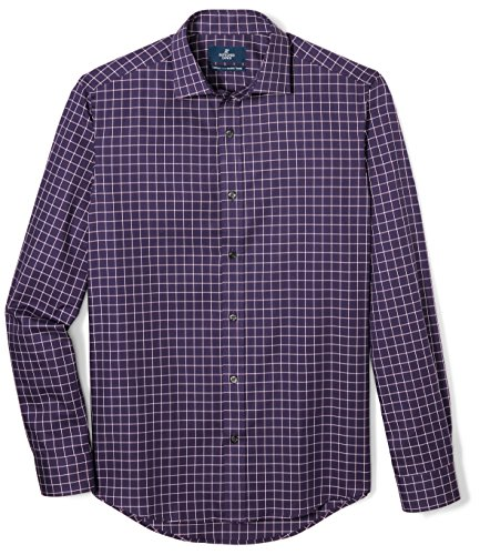 BUTTONED DOWN Men's Tailored Fit Supima Cotton Spread-Collar Dress Casual Shirt, Navy/Red/White Plaid, 16-16.5